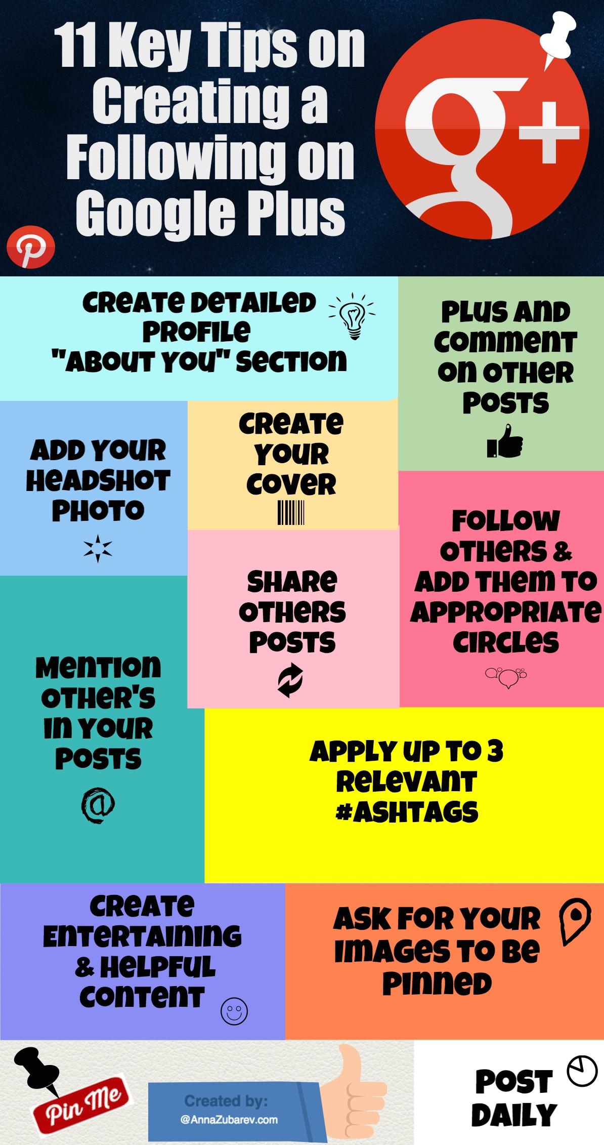 11 Key Tips on Creating a Following on Google Plus. #socialmediastrategy #infographic via@AnnaZubarev