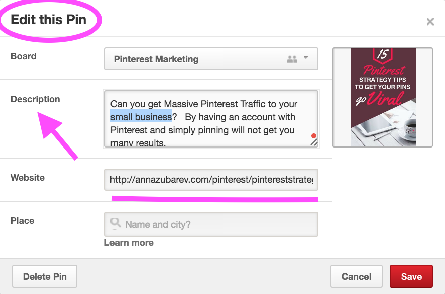 optimizing your pinterest profile