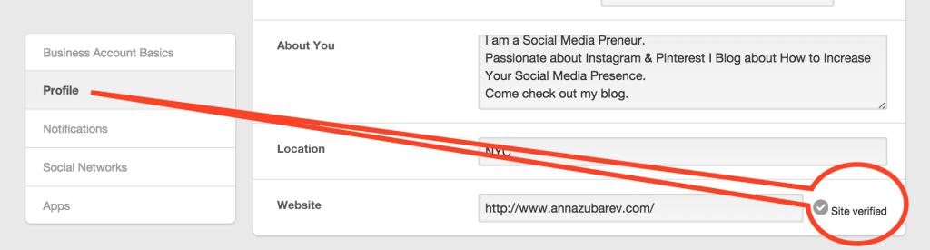 Verify Your Site for Pinterest