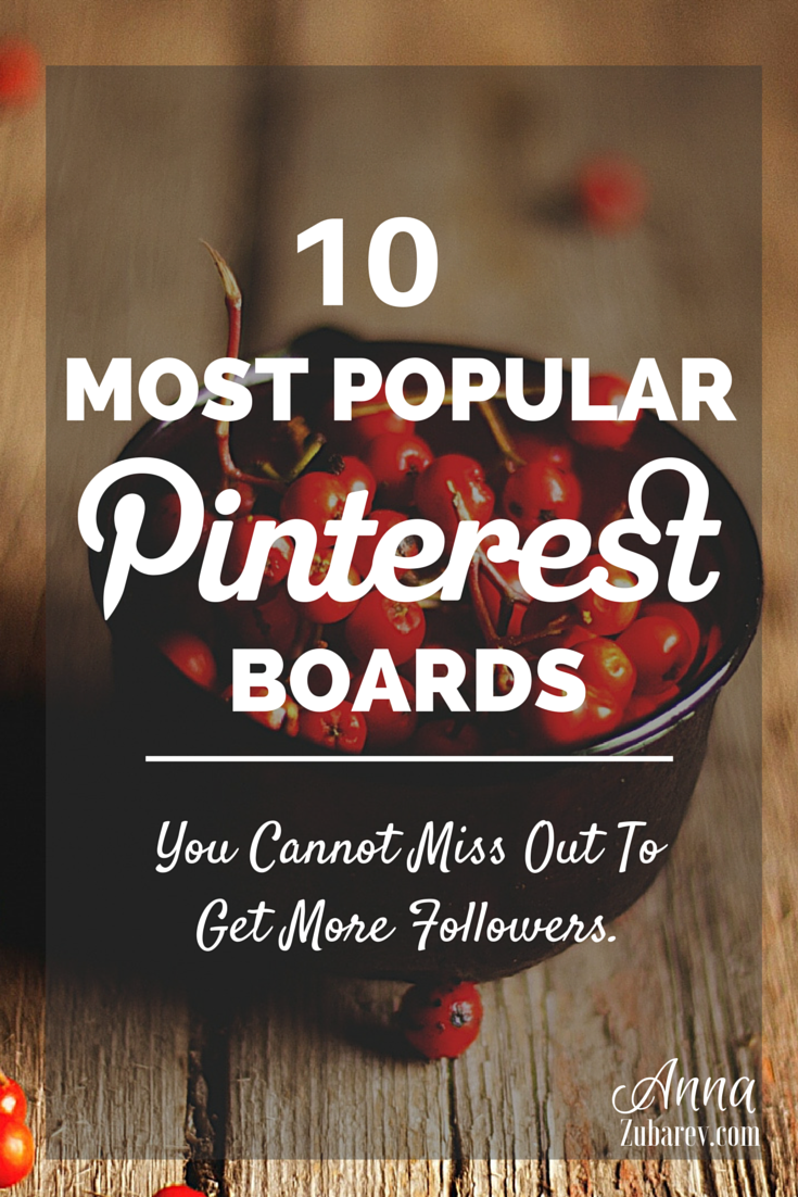 10 Most Popular Pinterest Boards You Cannot Miss Out To Get More Engagement. via @AnnaZubarev #PinterestStrategy