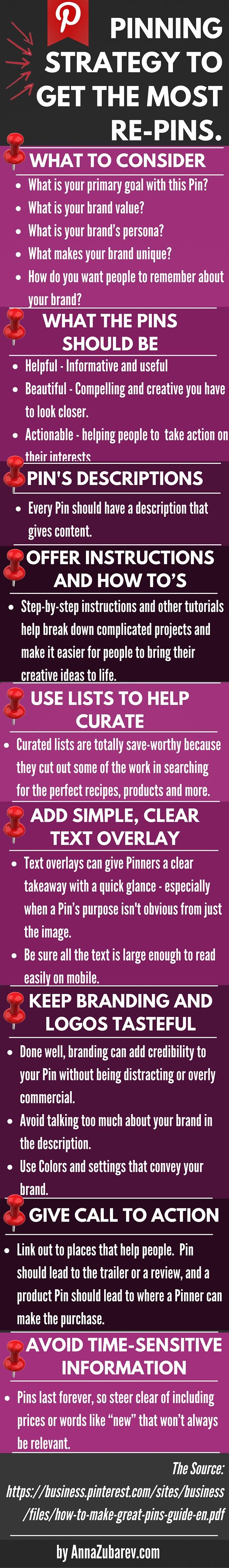 Pinning Strategies Checklist To Get The Most RePins. via @annazubarev